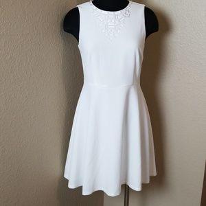 Trina Turk White Jewel Neckline Dress